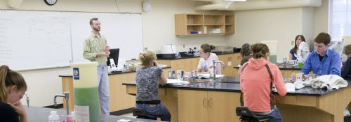 Houghton in biology lab