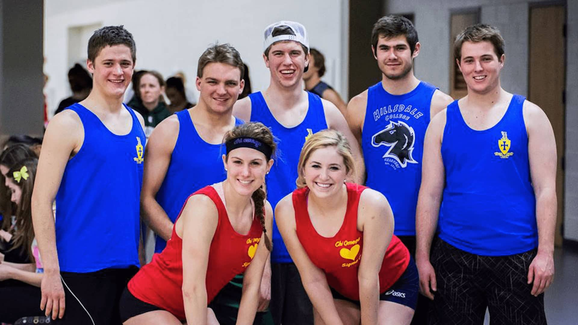 Chi Omega and Sigma Chi volleyball team group photo.