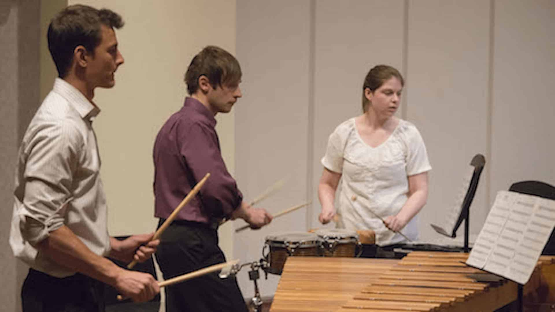 Students playing percussion