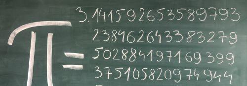 Hand-written Pi numbers on green chalkboard