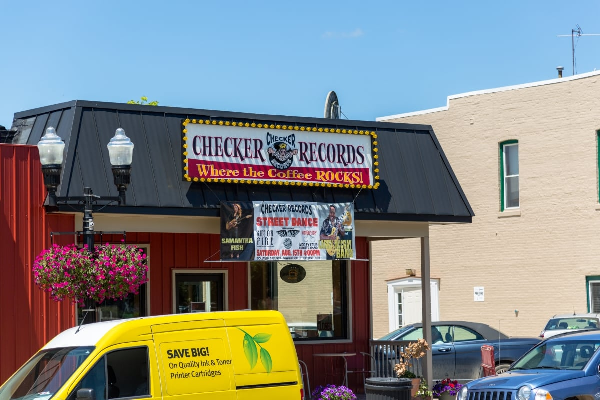 Exterior of Checker Records coffee and music bar.