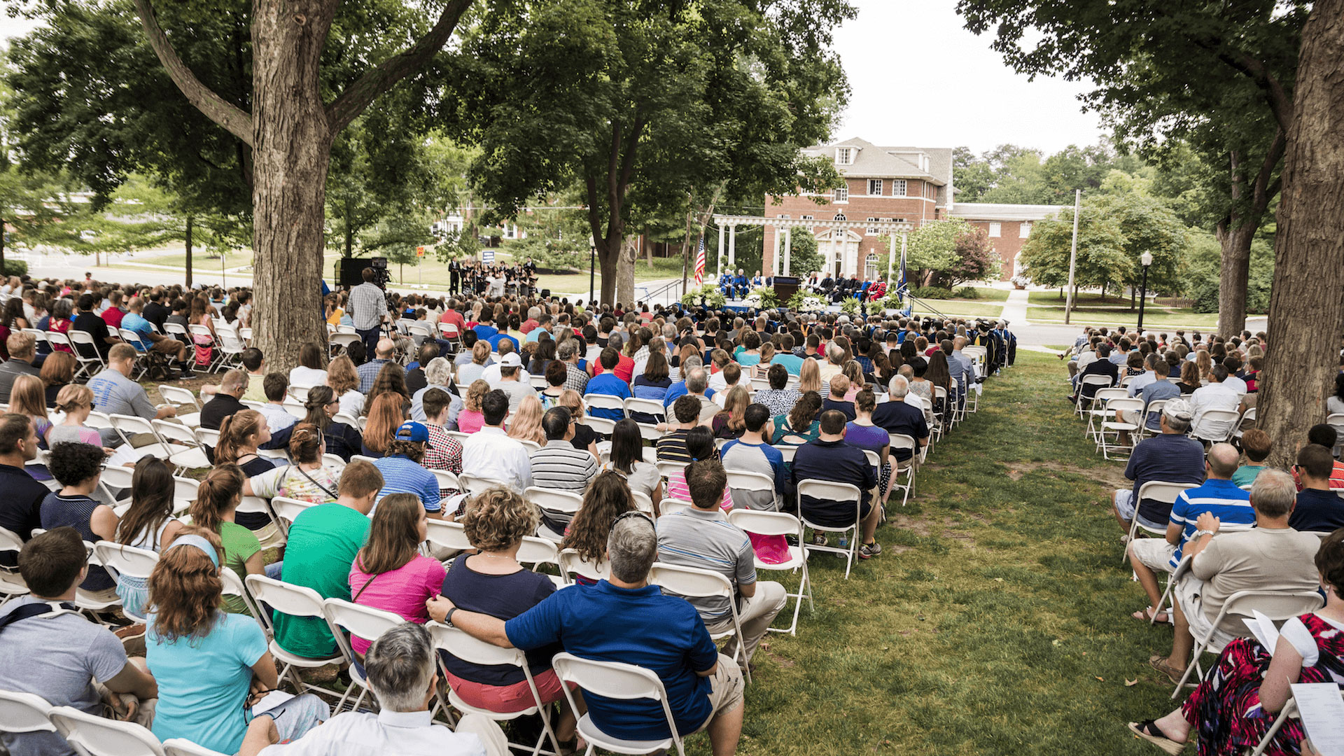 View of the Freshman Convocation attendees, outside.