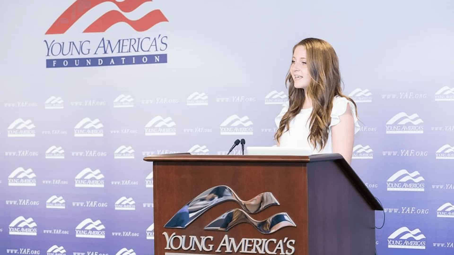 Student speaking at YAF
