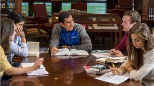 Hillsdale students study in the library