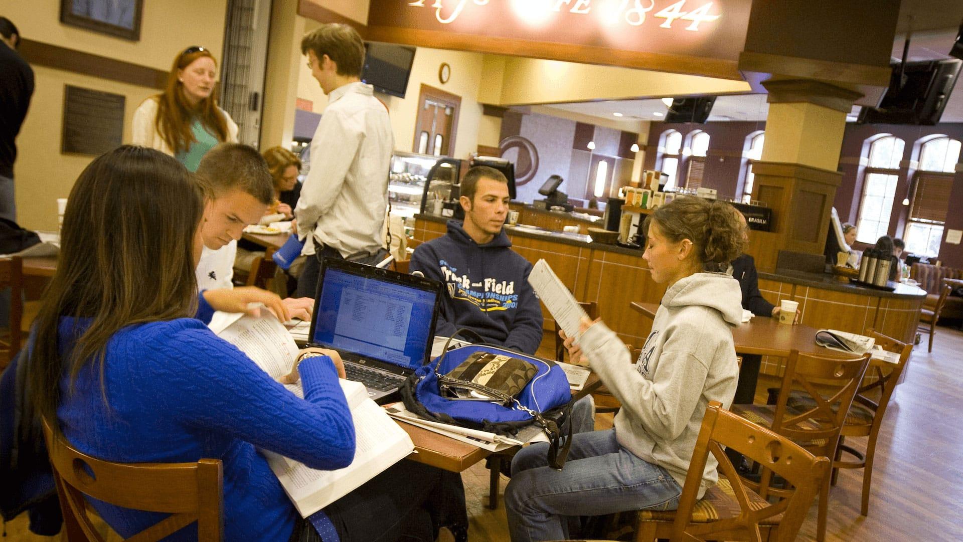 Students in AJ's Cafe