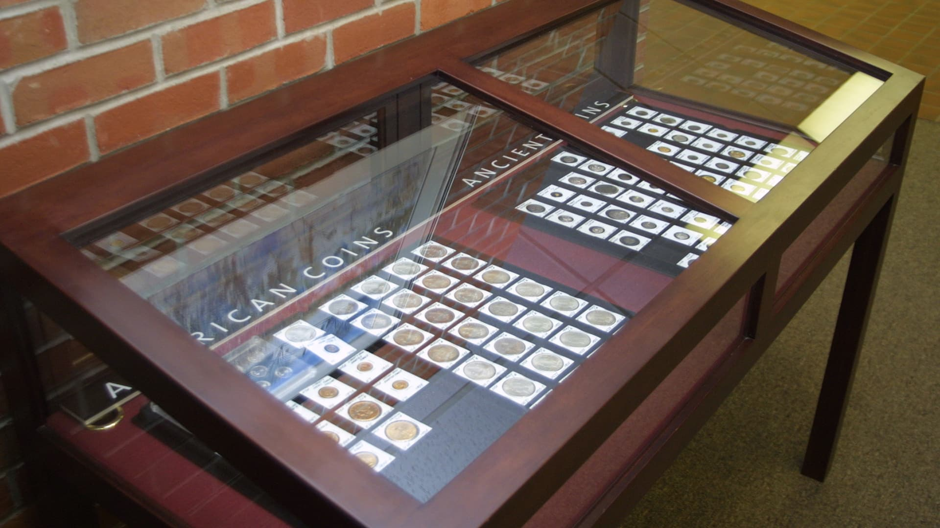 The Carus Coin Collection on display in Mossey Library