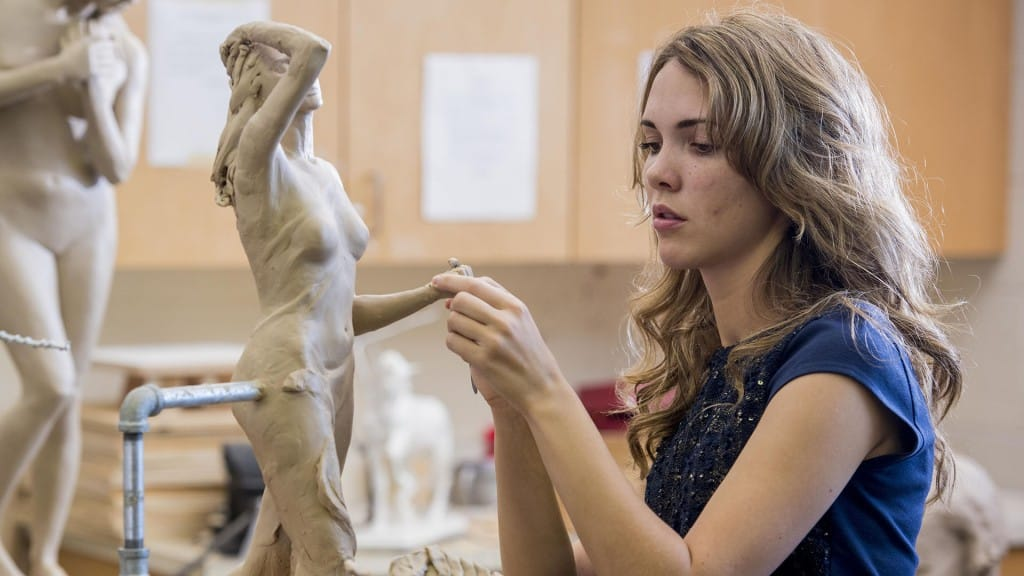 Student in Sculpture Studio