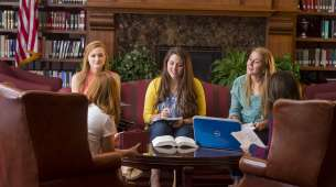 Hillsdale students in the Grewcock Formal Lounge