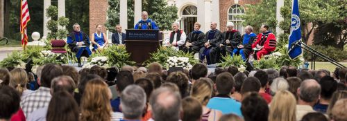Larry Arnn speaking during the 2014 Freshman Convocation.