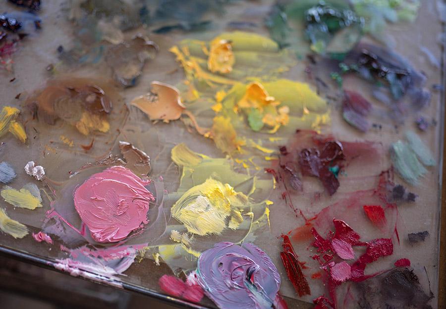 A palette with paint colors