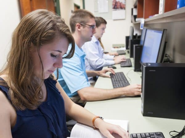 Students working in the Psychology computer lab.