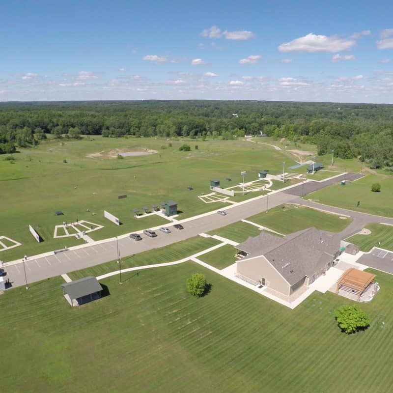 Aerial view of the Halter Shooting Sports Center shooting range.