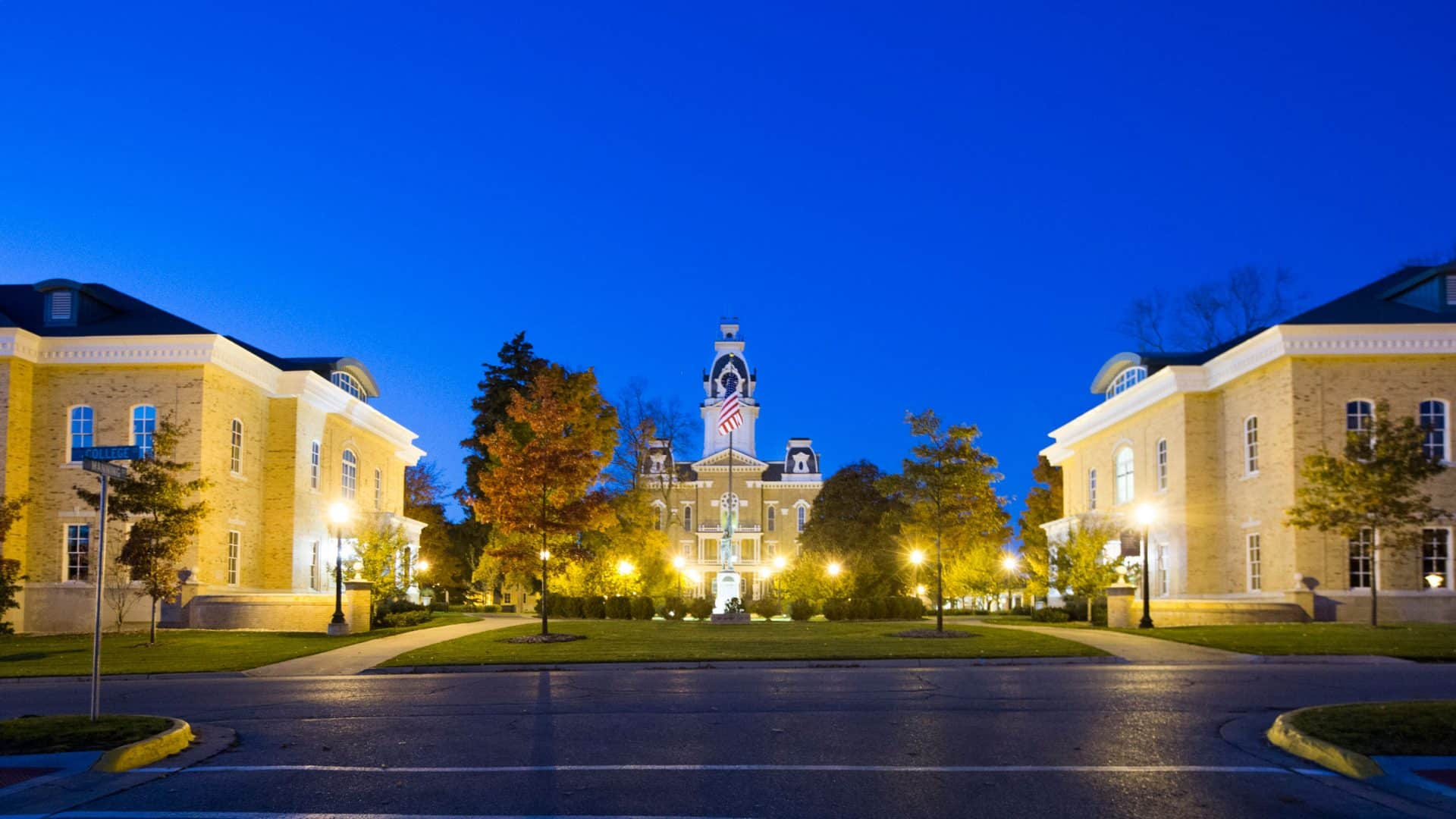 Hillsdale College at night