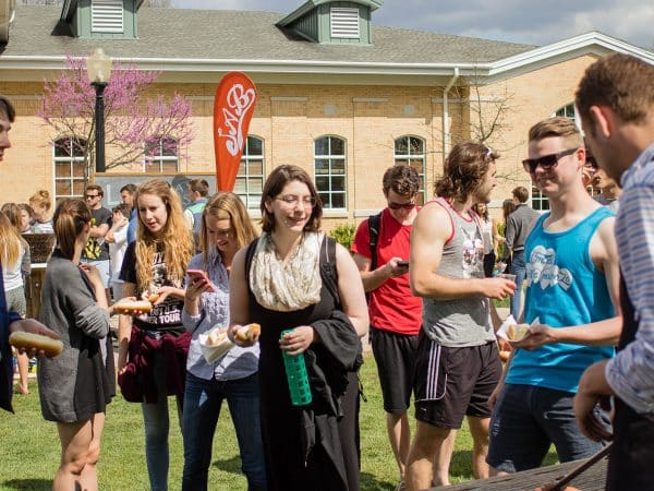 Students during a spring Student Activities Board event.