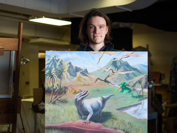 Forester McClatchey with Dinosaur Painting
