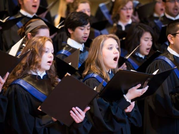 The Hillsdale College choir singing during concert.