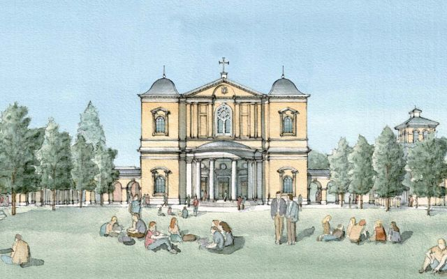 Watercolor rendering of Christ Chapel exterior.