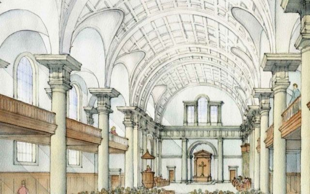 Watercolor rendering of Christ Chapel interior.