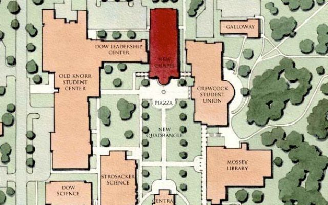 Map of Hillsdale College campus post-chapel construction.