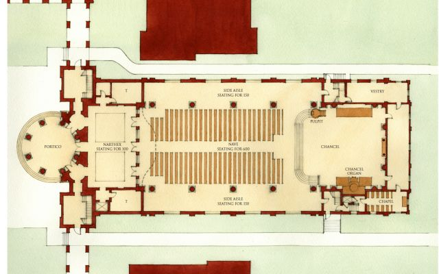 Blueprint of Christ Chapel layout.