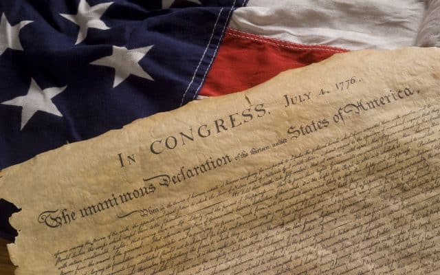 Declaration of Independence with American Flag