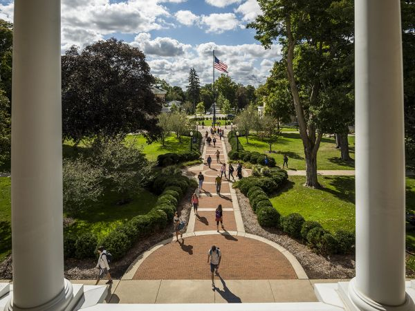 View out the front of Hillsdale College's Central Hall.
