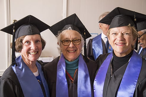 Alumni 50-6- Reunion Robing before Convocation Ann Martin Newhard, Judy Mendenhall Shiffler, Diana Wakeford   Photos provided by Hannah Strickland