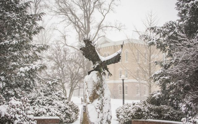 Eagle statue in the snow