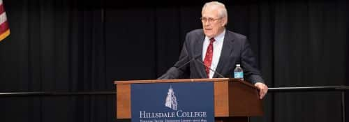 Donald Rumsfeld delivers speech at Hillsdale College.
