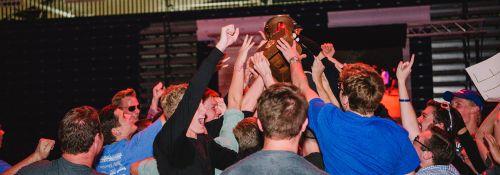 Simpson residents winning Spirit Week trophy