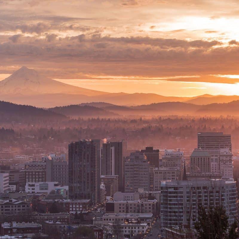 Sunrise over Portland