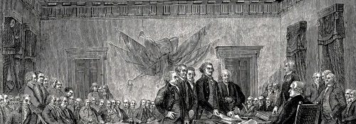 an illustration of the signing of the declaration of independence