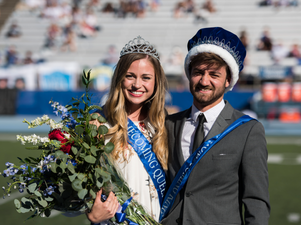 Homecoming King and Queen 2019 on the football field.
