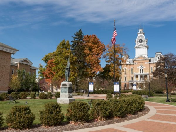 Hillsdale College, Central Hall and Civil War Statue.