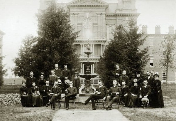 Students in Front of Central Hall, 19th Century