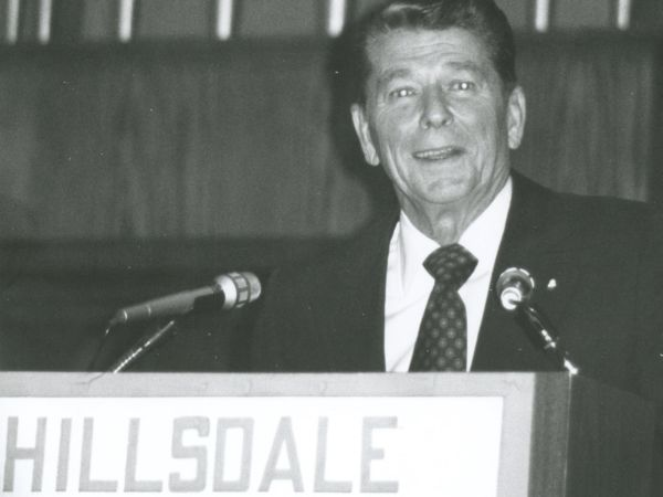 Ronald Reagan giving a speech at Hillsdale College.