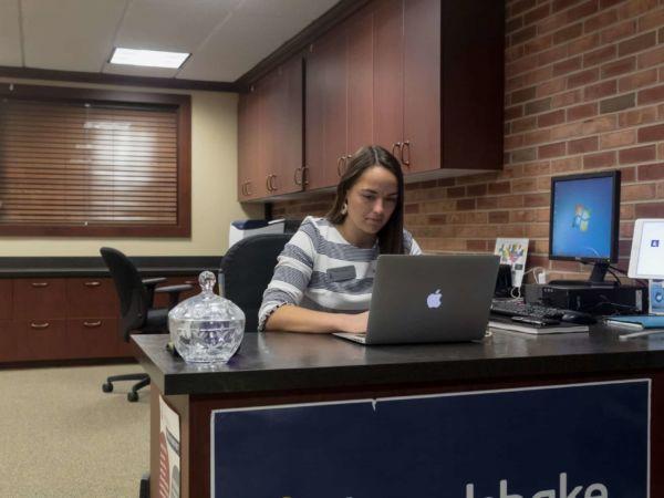 Hillsdale College Career Services front desk.