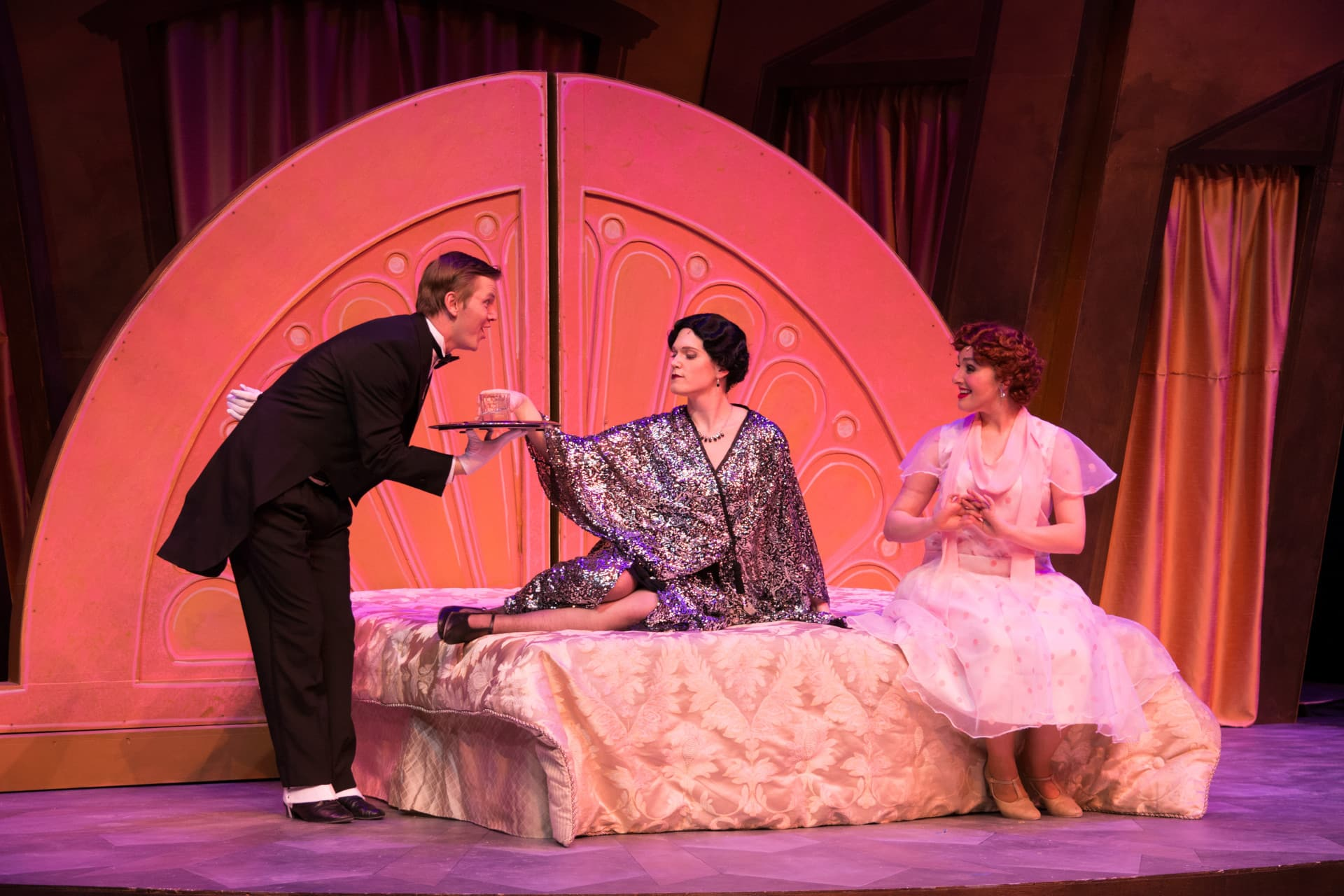 On set of the Drowsy Chaperone.