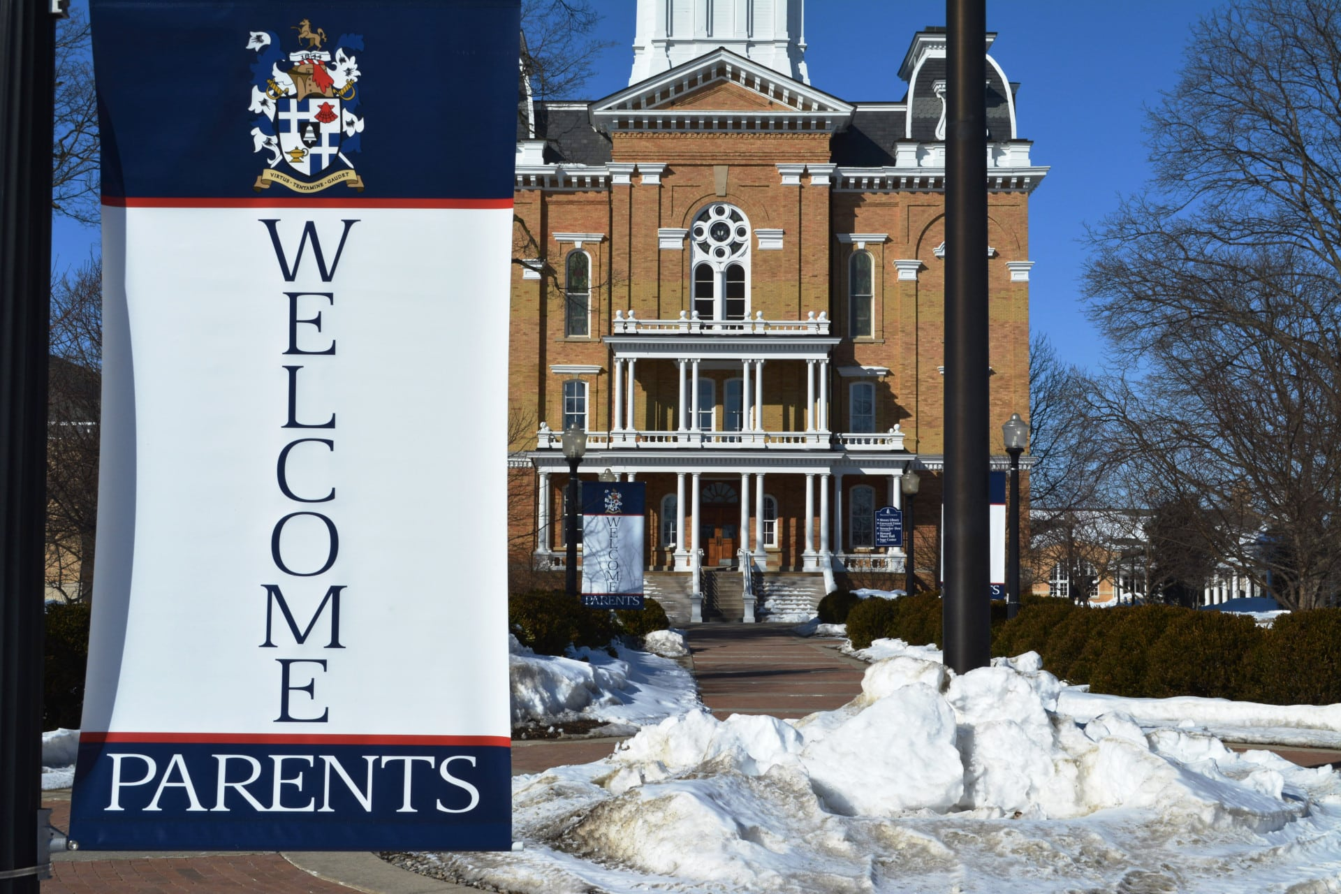 """""""Welcome Parents"""" signs in front of Central Hall."""