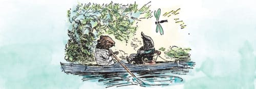 Watercolor cover art of the book 'The Wind in the Willows', featuring Rat and Mole rowing down a river.