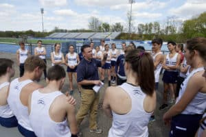 Hillsdale Track team during a group huddle.