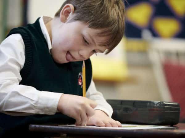 Kindergartener working at academy