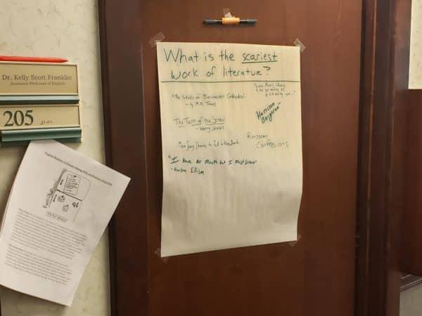 Poster on door