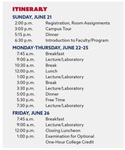 Summer Science Camp 2020 Itinerary