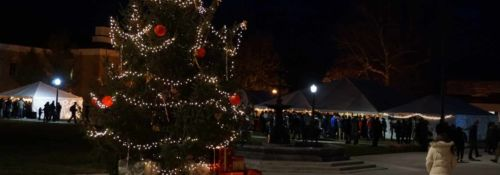 Christmas tree on campus during founding festival 2019