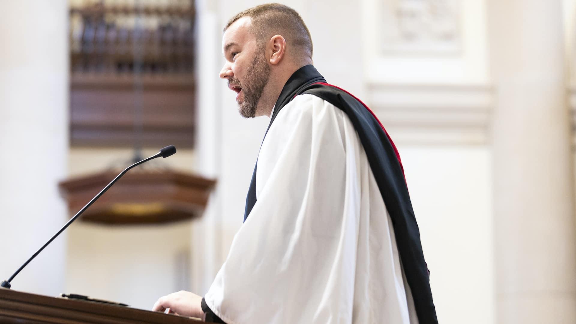Adam Rick speaks at Christ Chapel.