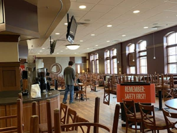 AJ's Cafe during campus lockdown