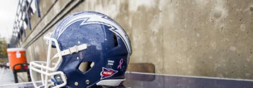 Blue Charger Football helmet on the sidelines