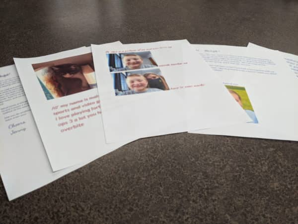 flyers with pictures and descriptions of volunteers