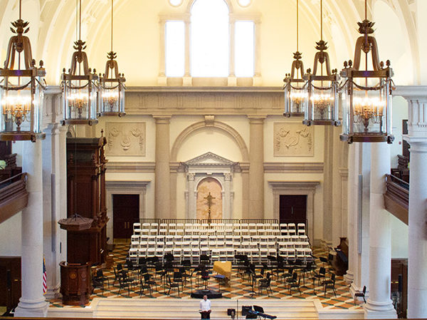 A view of the interior of Hillsdale College's Christ Chapel